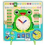 Asseny Wooden Calendar Clock Educational Weather Season Toys Clock Learning