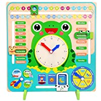 Reuvv Children Wooden Calendar Clock Educational Learning Time Date Season Weather Toy Early Education Puzzle Learning Toy For Boys Girls Children Gift