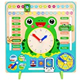 Starmood Madera Calendario Reloj Educativo Tiempo Temporada Juguetes Reloj Aprendizaje