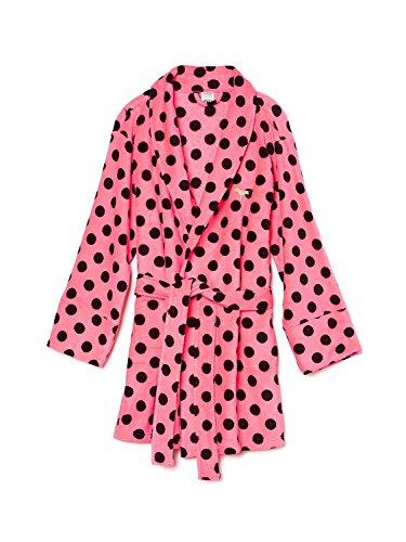 victorias-secret-womens-pink-polka-dot-bath-robe-pink-black-med-large