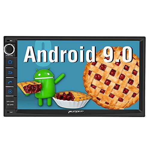 Pumpkin Android 9.0 Autoradio 2DIN navigatore gps universale, tocca-schermo da 7 pollici, supporto Bluetooth 4.0/ WiFi/ DAB+/ USB / SD / AV-OUT / Mirror-link / Controllo del volante/ Subwoofer
