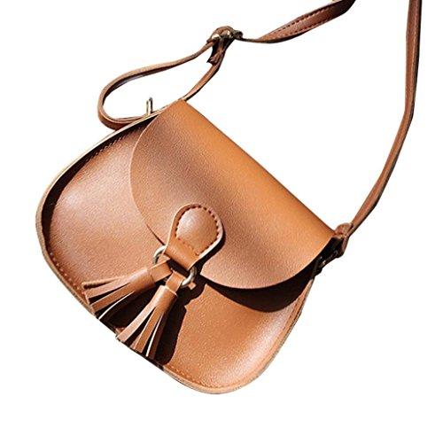 ESAILQ Femmes sacs à main en cuir Tassel Sacs à bandoulière bandoulière style preppy filles Messenger Bag