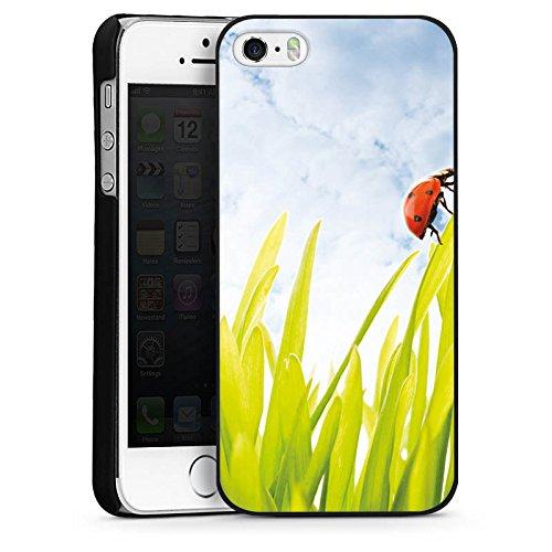 Apple iPhone 5s Housse Étui Protection Coque Brin d'herbe Coccinelle Ciel CasDur noir