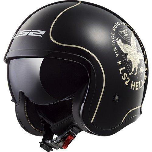 LS2 Motorradhelm SPITFIRE FLIER, Schwarz/Weiß, Größe L