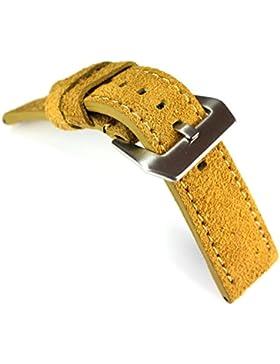 20mm / 20mm FLIEGER Echt LEDER RIOS Uhrenband Lederarmband Wildleder sand gelb ROBUST Stark Vintage Used Look...