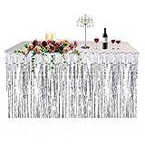 Metallic Fringe Foil Table Rock Tinsel Tabelle Vorhang für Luau Party-Geburtstags-Sommer-Jahrestag Weihnachten Tischdekoration Sunlera
