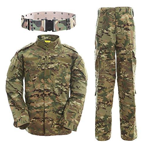QMFIVE Tactical Suit, Herren Camouflage Camo Combat BDU Jacke Shirt & Hose mit Gürtel Uniform War Spiel Army Military Paintball Airsoft Jagd Schießen Camouflage -
