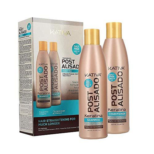 Kativa postalisado-Kit ohne Salz-Pakete von 2Flaschen x 250ml-Total: Shampoo und Spülung 500ml
