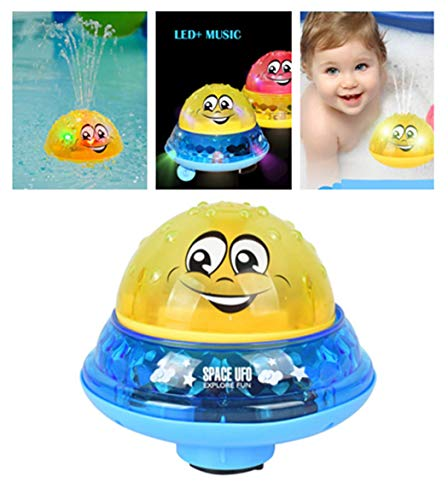 Badespielzeug Wasserspiel für Kinder Mit 2 Musik + Blinklicht - Baby Bade Bad Schwimmen Badewanne Pool Spielzeug - Elektrische Induktionssprinkler Kugel Drifting Badewanne Dusche Spielzeug (C)