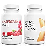 RASPBERRY MAX x60 + ACTIVE COLON CLEANSE x60 - Max Strength Fat Burners and Aloe Colon Cleanse DETOX + DIET Capsules | Suppress Appetite, Boost Metabolism and Increase Energy for Weight Loss by Natural Answers