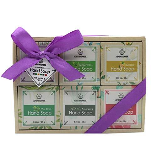 Sistema hecho a mano del regalo de la barra del jabón del aceite esencial, ingredientes orgánicos naturales (6 PCS)