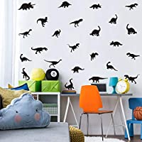 TOARTi Black Dinosaur Wall Decal, Minimalist Animals Vinyl Dinosaur Wall Art Sticker for Baby Boy Wall Decoration (37pcs)