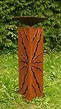 Rostsäule 60cm mit Muster zum Beleuchten Gartendeko Rostdeko...