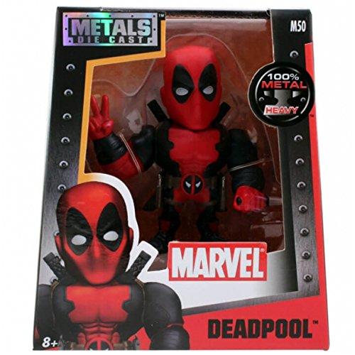Jada Marvel Deadpool Rot & Schwarz - Metalfigs 10cm Sammelfigur 97721 detailgetreue Gestaltung, aus Hochwertigem Diecast-Metall, Verpackt in Edler Fensterbox