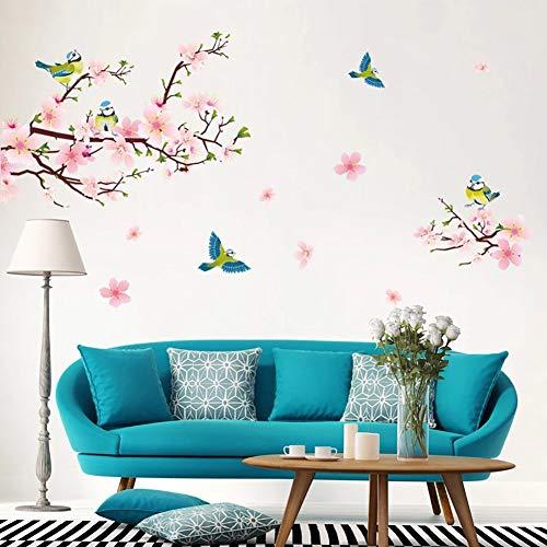Outflower adesivo murale fiore di pesco magpies romantico colore sfondo decorazione divano camera letto avanzato adesivi in pvc