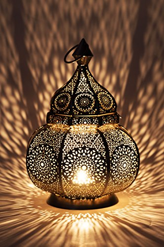 Moroccan Vintage Lantern Lights Lamp Ziva 30cm Silver Large | Oriental Garden Outdoor Hanging Lanterns for Candles as Decorations | Arabian Indoor Candle Tea Light Holders as Indian Party Home Decor
