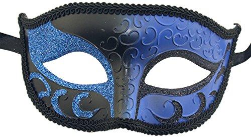 Luxus Maske Damen Sexy Funkeln venezianischen Hälfte mask-mardi Mardi Gras Halloween-Kostüm Party Gr. Einheitsgröße, Blau - Schwarz / (Mardi Gras Party Kostüme)