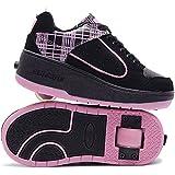 HUSK'SWARE Luz Unisex-niños Zapatos con Ruedas Zapatillas de Skate Automática de párrafos Sola Ronda Para niñas