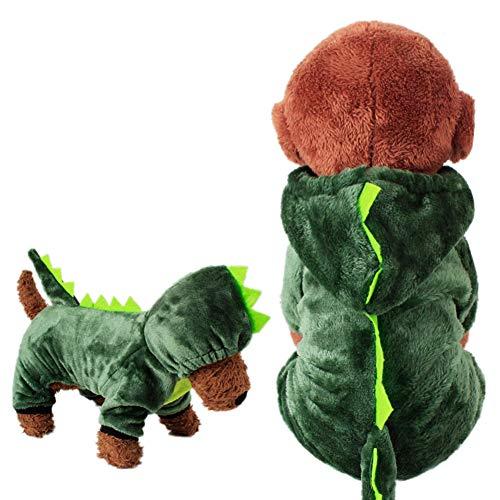 Halloween-Kostüm, Einhorn, weiches Fleece, Haustier-Kostüm, warm, Haustier Pyjama Kleidung Vierbein-Jumpsuit Cosplay Outfit m Dinosaurier