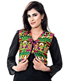 Banjara India Women's Poly Cotton Embroidered Kutchi Short Jacket/Koti (SJK-DCK01_Black_Free Size)