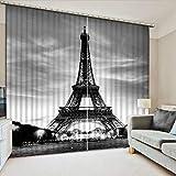 Eqwr Luxusvorhänge Gewohnheit 3D Verdunkelungsvorhänge Moderne Vorhänge des Turms Für Wohnzimmervorhänge Küchenfenster H240 * W280 cm
