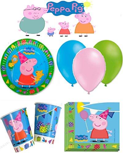 Peppa Pig kit de cumpleaños 8 personas