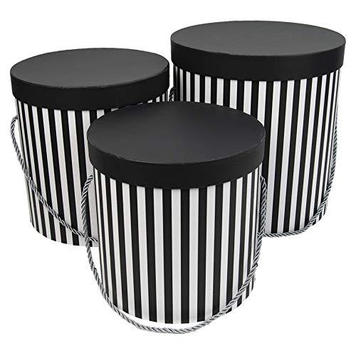 3er Set runde Aufbewahrungsboxen mit Deckel, mit Kordel und Quaste, Hutschachtel, Dekobox mit Streifen, runde Blumenbox (Schwarz/Weiß) Runde Box