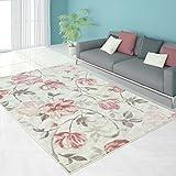 Moderner Pastell farbener Designer Teppich used Look Shabby chic Patchwork Öko Tex 100 zertifiziert INP-5811- pink Rose blumen 160x230 cm