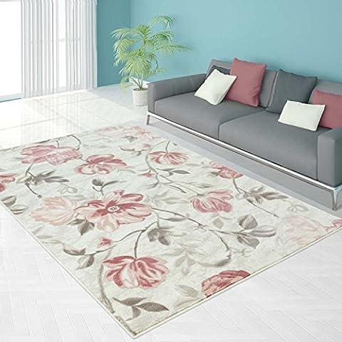 Teppich Modern Designer Wohnzimmer Schlafzimmer Läufer Inspiration Allure Floral Pastell Pink Blau, Größe in cm:80 x 300