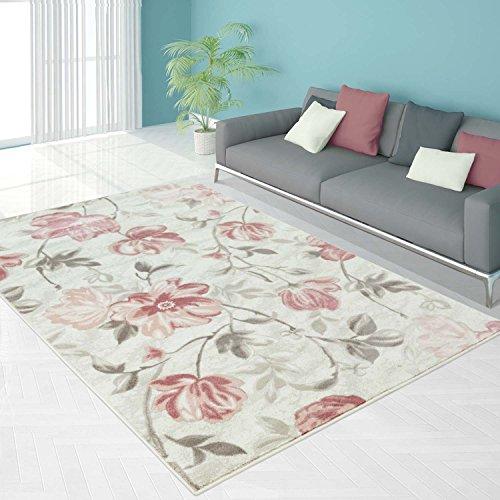 Teppich Flachflor in Pastellrosa, Creme mit Klassischen Blumen-Muster, Florales Design für Wohnzimmer, Größe: 80 x 150 cm (Läufer Blumen)