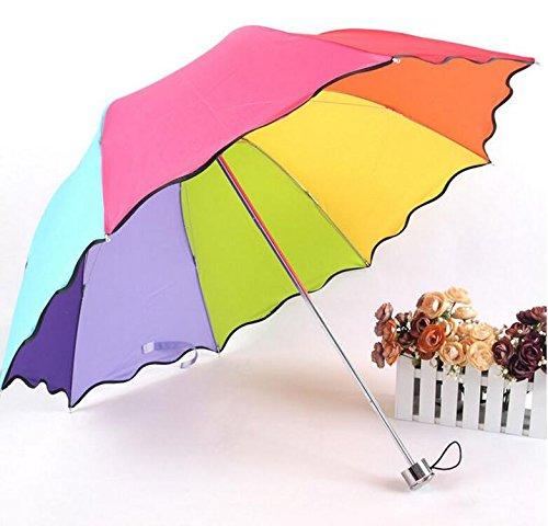 Gewölbten Blättern (Regenschirm Lotus Blatt DREI Falten gewölbten Regenschirm Regenschirm Schöne Umbrella Lange Handle Umbrella Umbrella Long Handle Automatik Regenschirm Sonnenschirm)