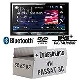 VW Passat 3C CC B6 B7 - Pioneer AVH-X5800DAB - 2DIN Multimedia Autoradio inkl. DAB Antenne - Einbauset