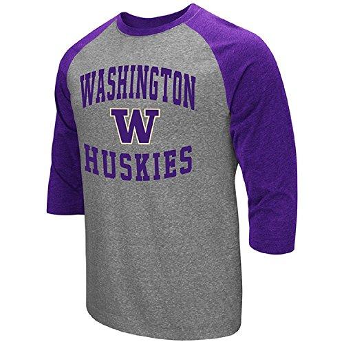 Colosseum Herren ncaa-raglan-3/4Sleeve-Heathered-Baseball T-Shirt, Herren, Washington Huskies, X-Large -