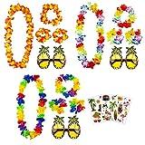 aovowog Ghirlanda Hawaiana Collana Bracciali Fasce e Ananas Occhiali da Sole e Tatuaggi per Decorazioni per Feste in Spiaggia Forniture Photo Booth [3 Set]