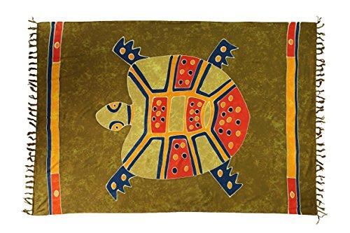 Riesen Auswahl - Sarong Pareo Wickelrock Handtuch Strandtuch Wickelkleid Schmetterling Design Handarbeit Made by EL - Vertriebs GmbH, Khaki Schildkröte, 160cm x 110cm