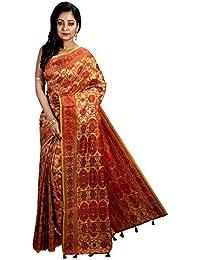Avik Creations Women's Full Embroidered Latest Design New Collection Assam Tassar Art Silk Saree Red Golden