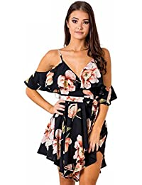 192a3b625171 YYD  Femmes Sexy Deep V-Neck Floral Imprimer Halter Irrégulière Jupe Robe  Lâche