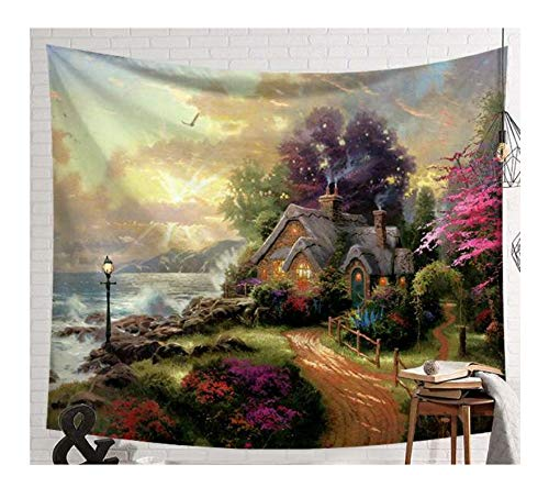 Tapestry Fantastic Scenic Forest Cabin Green Light Big Red Mushroom Hanging Living Print Wall Tapestry Decoration D -