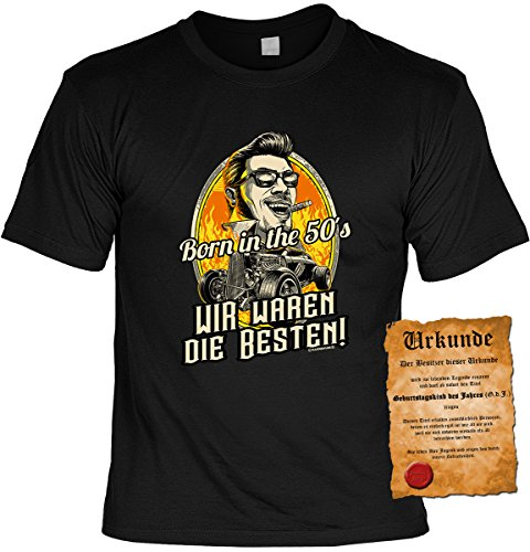 Geburtstags/Jahrgangs-Shirt inkl. Spaß-Urkunde: Born in the 50s Wir waren die Besten! tolles Geschenk Schwarz
