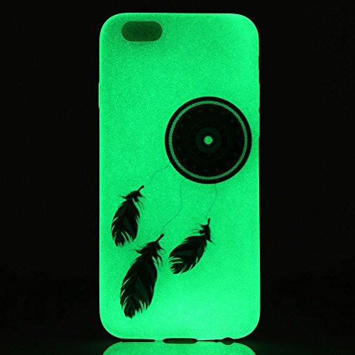 iPhone 6 Custodia, iPhone 6S Case Cover, ISAKEN Agganciabile Luminosa Case Cover con LED Lampeggiante per Apple iPhone 6/6S, Ultra Slim Sottile TPU Gel Silicone Protettivo Skin Custodia Protettiva She acchiappasogni piuma blu