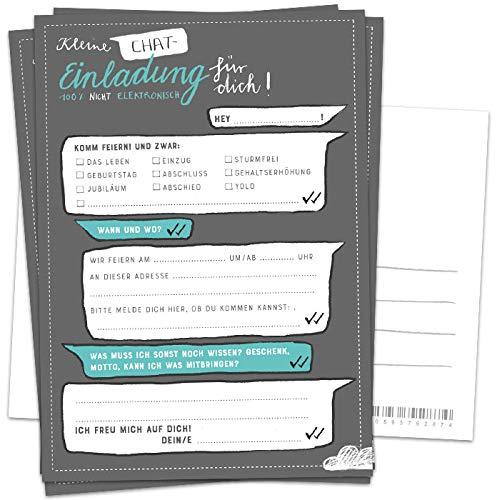 10 Einladungskarten - Kleine Chat Einladung für dich! | Grau Weiß Türkis | Postkarten Einladungen zum Geburtstag, Jubiläum, Party, Einzug, Abschluss, Abschiedsfest u.v.m. | DIY Design mit Adressfeld