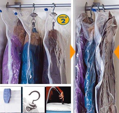 Jocca Bolsas Guarda-Ropa con Envasado al Vacío, Plástico, Transparente, 100x60x3 cm, 2 Unidades