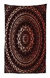 Abakuhaus Mandala Wandteppich und Tagesdecke Orientalisch Buddhismus und Hinduistischer Spiritualistisch Figurativer Musteraus Weiches Mikrofaser Stoff 140 x 230 cm Digitaldruck Technik Braun