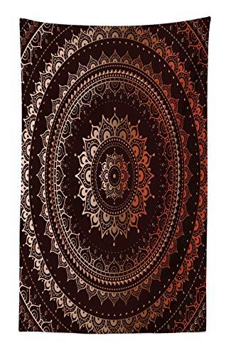 Braun Mikrofaser Stoff (ABAKUHAUS Mandala Wandteppich und Tagesdecke Orientalisch Buddhismus und Hinduistischer Spiritualistisch Figurativer Musteraus Weiches Mikrofaser Stoff 140 x 230 cm Digitaldruck Technik Braun)