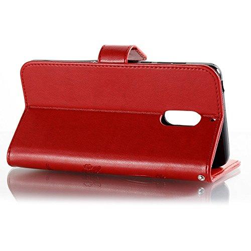 EKINHUI Case Cover Horizontale Folio Flip Stand Muster PU Leder Geldbörse Tasche Tasche mit geprägten Blumen & Lanyard & Card Slots für Nokia 6 (N6) ( Color : Coffee ) Red