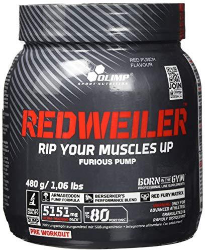 Olimp Redweiler | Pre Workout Booster | Muskelpumpe | L-Arginin | Beta-Alanin | Red Punch Geschmack | 480 g