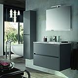 THE LIVING DESIGN FIND YOUR OWN STYLE Conjunto de Mueble de Baño NEJAR - 80 cm. Con Lavabo, Espejo y Aplique Led. (Gris Mate)
