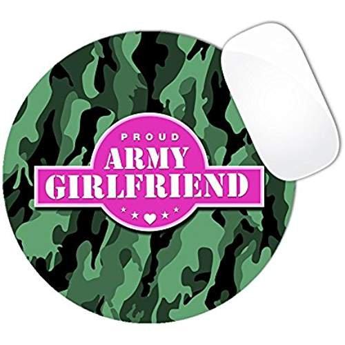friend Pink Center Banner Dark Olive Swamp Green Camo Pattern Mouse Pad (ROUND) ()