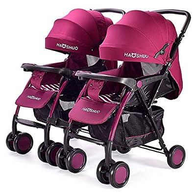 Twin stroller zxmpfg El Cochecito Doble, el Cochecito Ligero Plegable de Viaje Desmontable, se Puede sentar o tumbar y se Puede Ajustar por Separado.