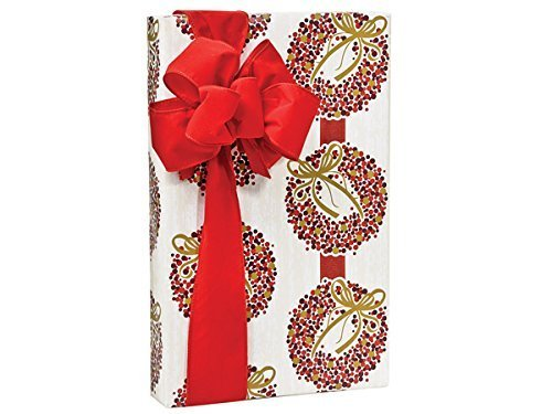Elegant Holly Berry Wreaths Christmas Holiday Gift Wrap Paper–16Foot Roll by Buttons Bags and Bows